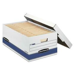 Bankers Box STOR/FILE Storage Box with Locking Lid, White/Bl