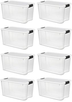 Sterilite Storage Boxes,White Lid & Clear Base with Latches,