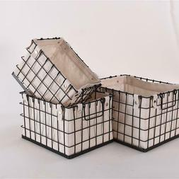 storage basket set canvas lined brushed copper