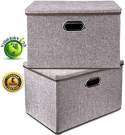 Large Linen Fabric Foldable Storage Container  with Removabl