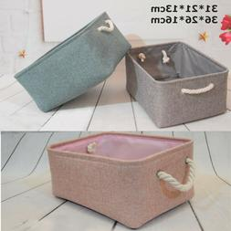 Storage Bin Basket Box Linen Fabric Organizer Drawer Contain