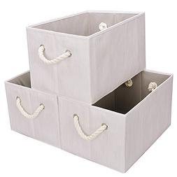 Storage Bin with Cotton Handles, 3-Pack, White , Jumbo