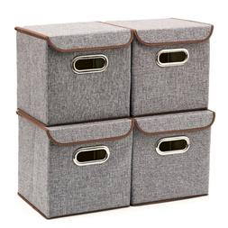 storage bins 4 pack linen fabric foldable