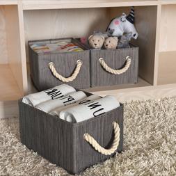 Storage Bins Basket Foldable with Rope Handles Decorative Bo