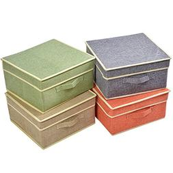 YueYue 4 Pack Flodable Fabric Storage Box with Lids Linen St