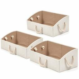Set of 3 Large Storage Bins EZOWare Foldable Bamboo Fabric T