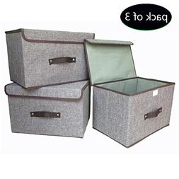Storage Bins  Foldable Storage Box with Lids and Handles Sto