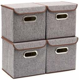 Storage Bins  EZOWare Linen Fabric Foldable Basket Cubes Org