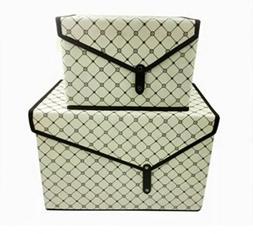 Storage Box Non-woven Fabric Foldable Flip Top Lid Baskets C