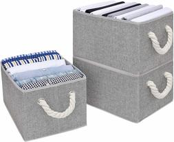 StorageWorks Storage Boxes for Shelves with Cotton Rope Hand
