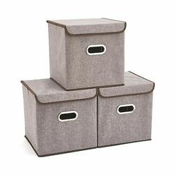 Storage Boxes with Lid  EZOWare Linen Fabric Foldable Basket