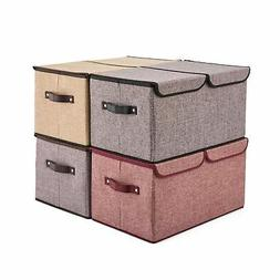 Large Storage Boxes  EZOWare Large Linen Fabric Foldable Sto