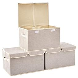 Large Storage Boxes  EZOWare Large Linen Fabric Foldable Sto