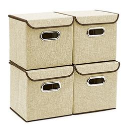 Storage Boxes  EZOWare Linen Fabric Foldable Basket Cubes Or