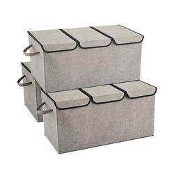 EZOWare Extra Large  Linen Fabric Foldable Storage Cubes Bin