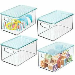 mDesign Storage Organizer Bin Box with Lid for Kid Supplies