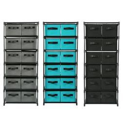 Storage Shelf Unit Drawers Rack Closet Organizer With 12 Fol