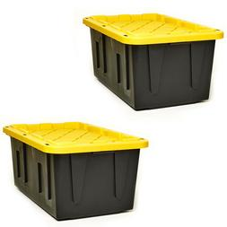 2-Pack Storage Tote Utility Box Black Yellow Plastic Crate S
