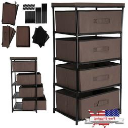 Storage Tower 4 Drawer Bin Cabinet Clothes Organizer Box Bed