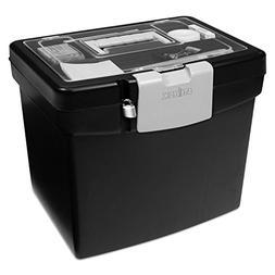 Storex 61504U01C Portable File Box with Large Organizer Lid,