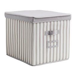IKEA Svira Box With lid Gray White Stripe 603.002.94 Size 13
