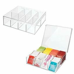 mDesign Tea Storage Organizer Box - 8 Divided Sections,