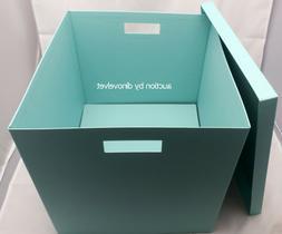 "TJENA IKEA SQUARE STORAGE BOX WITH LID TEAL 12.5"" x 13.75 x"