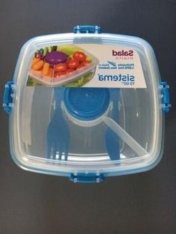 Sistema To go container lunch plastic salad bowl w/ lid fork