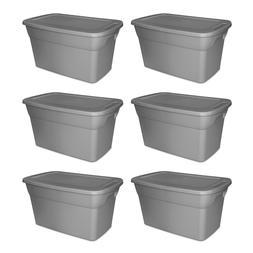 Tote Box 30 Gallon Storage Containers Set Of 6 Bin Lids Gara