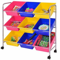 Toy Bin Cart Rack Organizer Kids Childrens Storage Box Playr