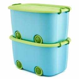 EZOWare Toy Chest Set of 2 Large Plastic Stackable Organizer