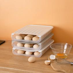 Transparent Egg Storage Box Auto Rolling Down Kitchen Fridge