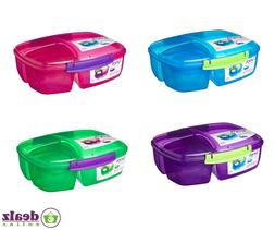 Sistema Triple Split Lunch Box 2L School Food Multi Compartm
