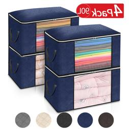 US 3/4PCS Clothes Storage Bags Ziped Organizer Underbed Ward