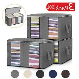 US 3PCS Clothes Storage Bags Ziped Organizer Underbed Wardro