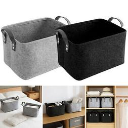 US Felt Storage Basket Closet Toy Book Hamper Laundry Bag Sh