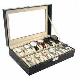 USA 12 Slot Men Watch Box Leather Display Case Organizer Gla