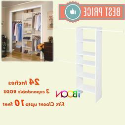 "Vertical White Closet Organizer Shelves Storage 24"" System W"