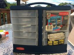Vintage Rubbermaid Blue tools Storage Small parts Swivel Box