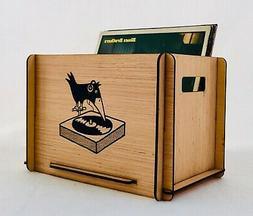 Vinyl LP Record Storage Crate with Retro Vintage Look  - Gre