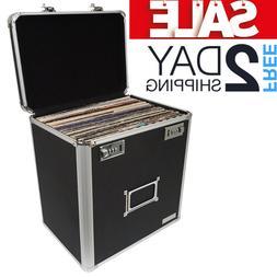 Vinyl Record Storage Box Carrying Case Holder Album Crate Po