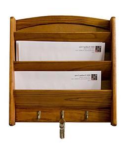 Wall Mount Letter Holder Mail Key Sort Rack Wood Storage Box
