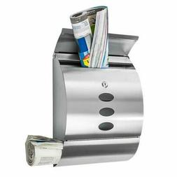 Wall Mount Lockable Mail Box Letter Box Newspaper Roll Stora