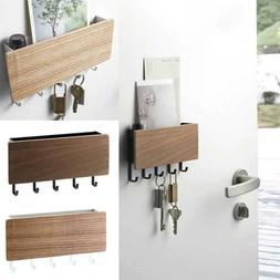 Wall Mounted Wooden Key Letter Holder Storage Box Hanger She