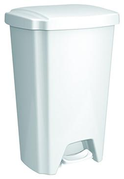 Hefty Step-On Wastebasket, 12-1/2 Gallon, White