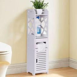 White Bathroom Floor Corner Cabinet Toilet Paper Storage Hol