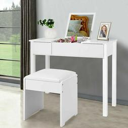 White Vanity Dressing Table Set Mirrored Bedroom Furniture W