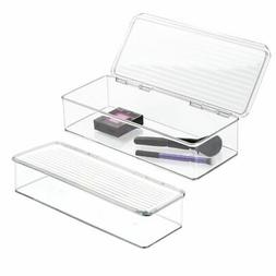 mDesign Wide Makeup Storage Organizer Box with Lid for Bathr