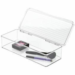 mDesign Makeup Storage Organizer Box with Lid for Bathroom V