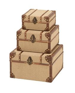 Deco 79 Wood Burlap Boxes, 12 by 10 by 8-Inch, Set of 3